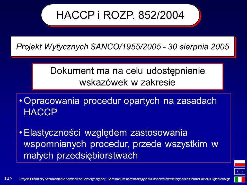HACCP i ROZP. 852/2004 Projekt Wytycznych SANCO/1955/2005 - 30 sierpnia 2005. Dokument ma na celu udostępnienie wskazówek w zakresie.