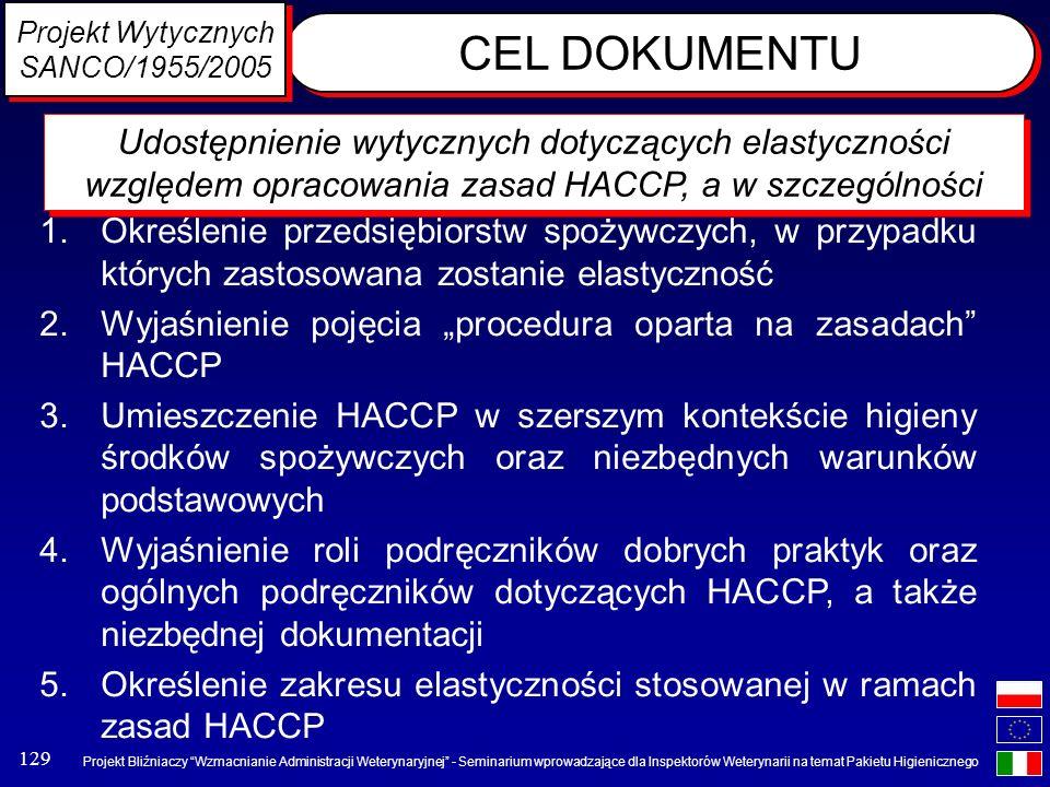 Projekt Wytycznych SANCO/1955/2005. CEL DOKUMENTU.