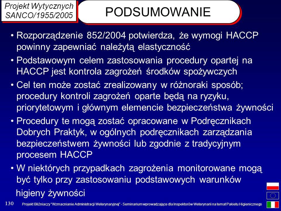 Projekt Wytycznych SANCO/1955/2005. PODSUMOWANIE. Rozporządzenie 852/2004 potwierdza, że wymogi HACCP powinny zapewniać należytą elastyczność.
