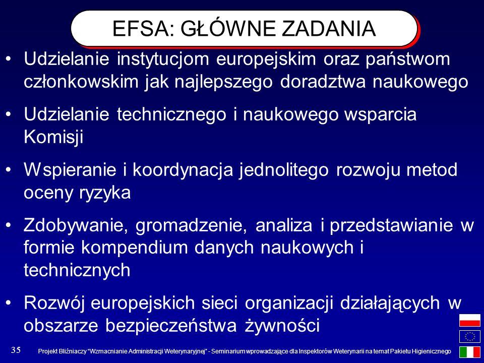 EFSA: GŁÓWNE ZADANIA Udzielanie instytucjom europejskim oraz państwom członkowskim jak najlepszego doradztwa naukowego.