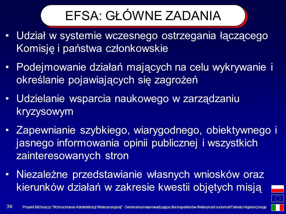 EFSA: GŁÓWNE ZADANIA Udział w systemie wczesnego ostrzegania łączącego Komisję i państwa członkowskie.