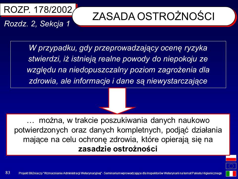 ZASADA OSTROŻNOŚCI ROZP. 178/2002 Rozdz. 2, Sekcja 1