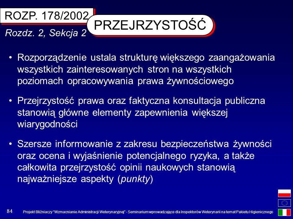 PRZEJRZYSTOŚĆ ROZP. 178/2002 Rozdz. 2, Sekcja 2