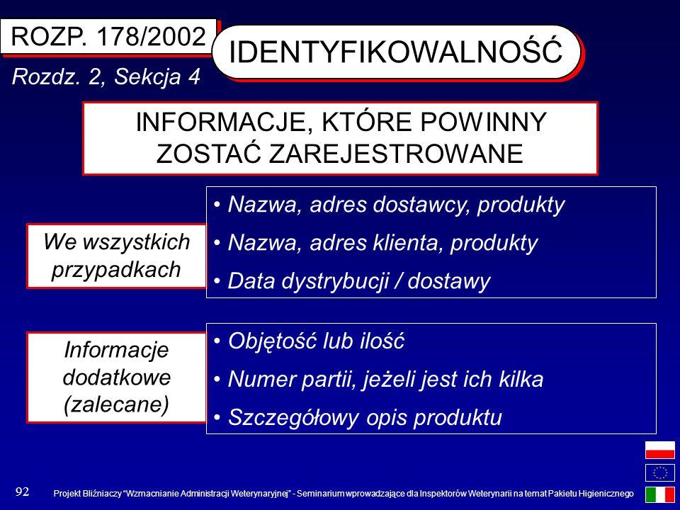 IDENTYFIKOWALNOŚĆ ROZP. 178/2002