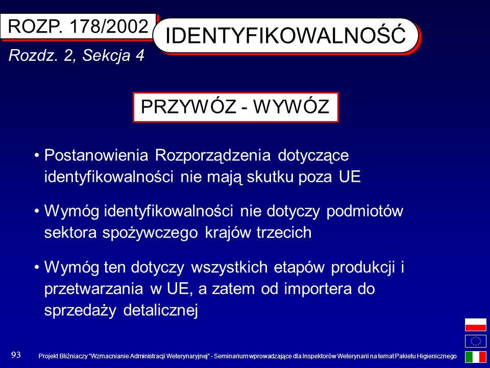 IDENTYFIKOWALNOŚĆ ROZP. 178/2002 PRZYWÓZ - WYWÓZ Rozdz. 2, Sekcja 4