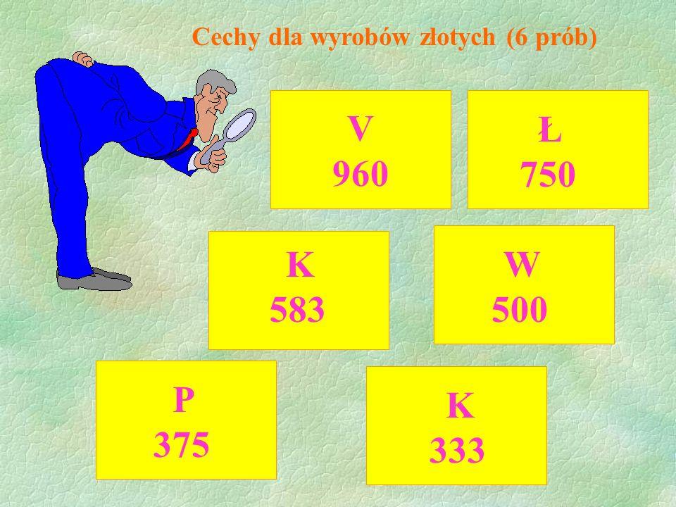 Cechy dla wyrobów złotych (6 prób)