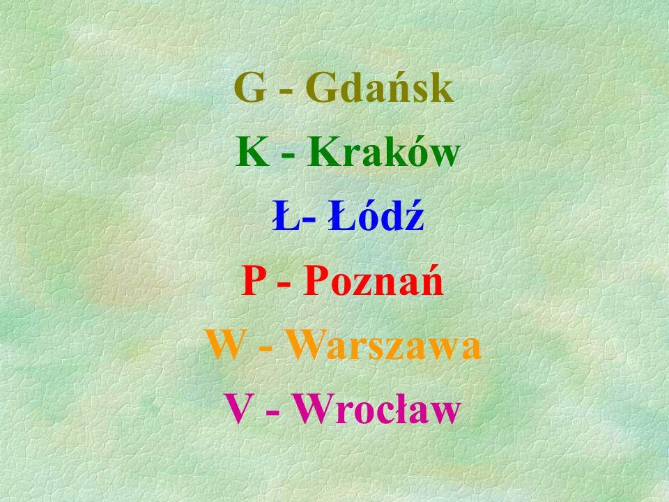 G - Gdańsk K - Kraków Ł- Łódź P - Poznań W - Warszawa V - Wrocław