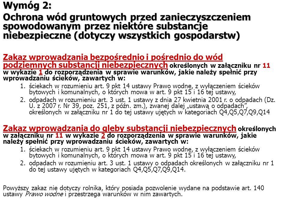 Wymóg 2: Ochrona wód gruntowych przed zanieczyszczeniem spowodowanym przez niektóre substancje niebezpieczne (dotyczy wszystkich gospodarstw)