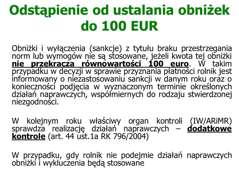 Odstąpienie od ustalania obniżek do 100 EUR