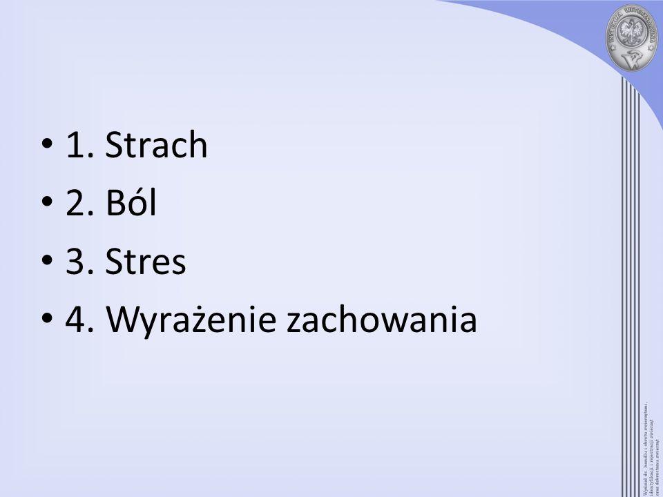 1. Strach 2. Ból 3. Stres 4. Wyrażenie zachowania