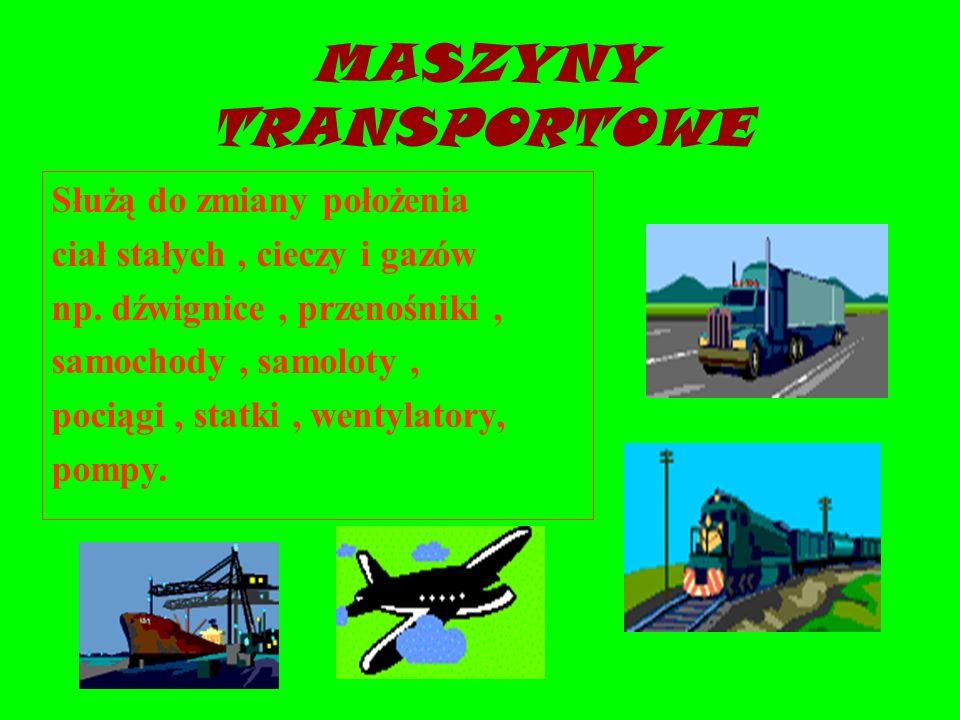 MASZYNY TRANSPORTOWE Służą do zmiany położenia