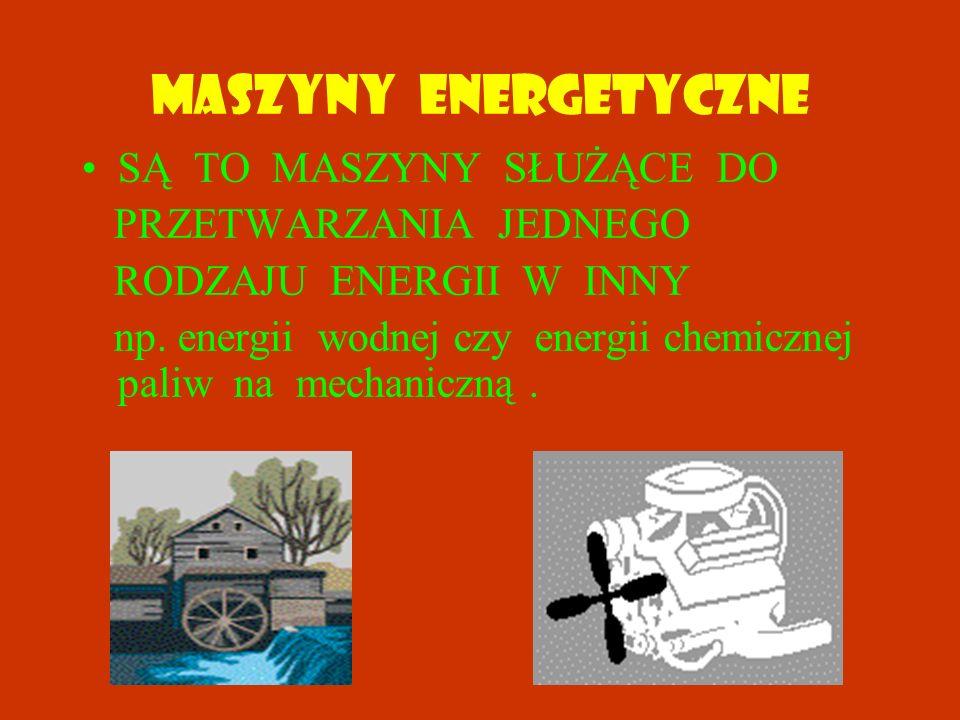 MASZYNY ENERGETYCZNE SĄ TO MASZYNY SŁUŻĄCE DO PRZETWARZANIA JEDNEGO