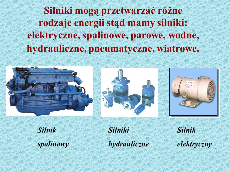 Silniki mogą przetwarzać różne rodzaje energii stąd mamy silniki: elektryczne, spalinowe, parowe, wodne, hydrauliczne, pneumatyczne, wiatrowe.