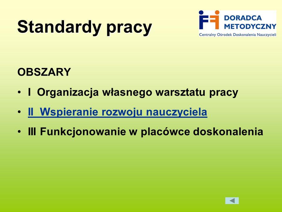 Standardy pracy OBSZARY I Organizacja własnego warsztatu pracy