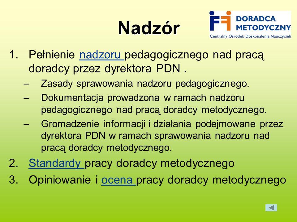 Nadzór Pełnienie nadzoru pedagogicznego nad pracą doradcy przez dyrektora PDN . Zasady sprawowania nadzoru pedagogicznego.