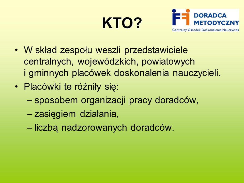 KTO W skład zespołu weszli przedstawiciele centralnych, wojewódzkich, powiatowych i gminnych placówek doskonalenia nauczycieli.