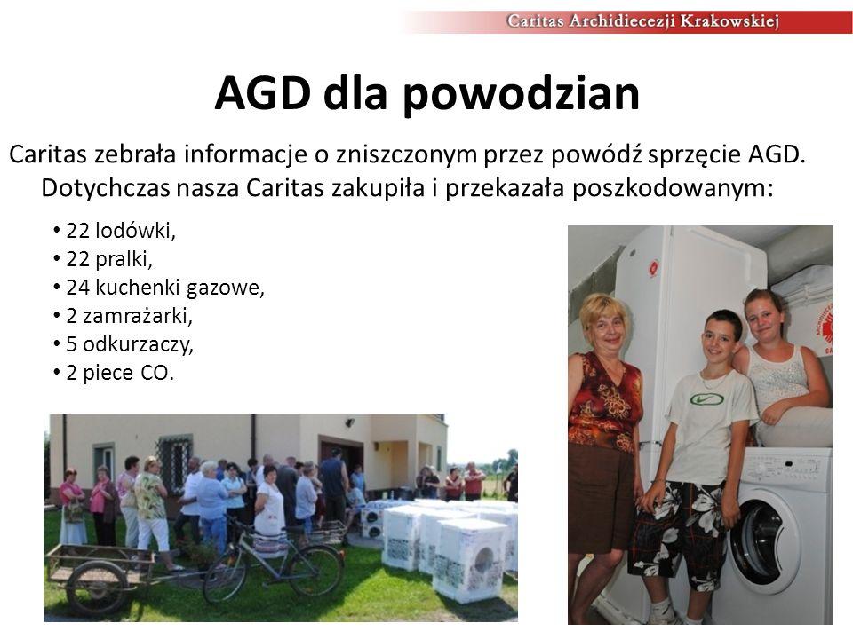 AGD dla powodzian Caritas zebrała informacje o zniszczonym przez powódź sprzęcie AGD. Dotychczas nasza Caritas zakupiła i przekazała poszkodowanym: