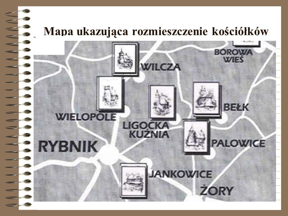 Mapa ukazująca rozmieszczenie kościółków