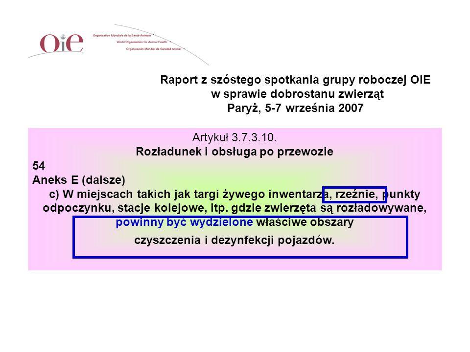 Raport z szóstego spotkania grupy roboczej OIE