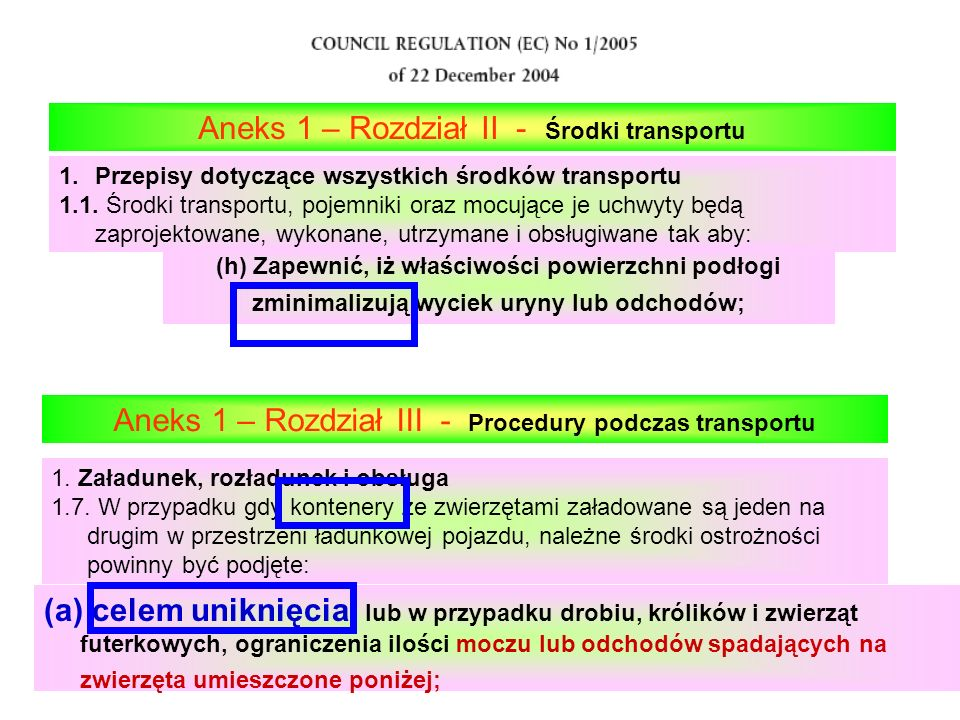 Aneks 1 – Rozdział II - Środki transportu