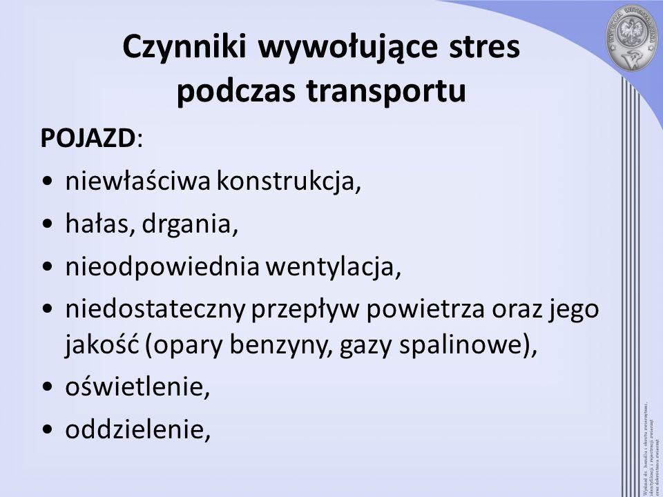 Czynniki wywołujące stres podczas transportu