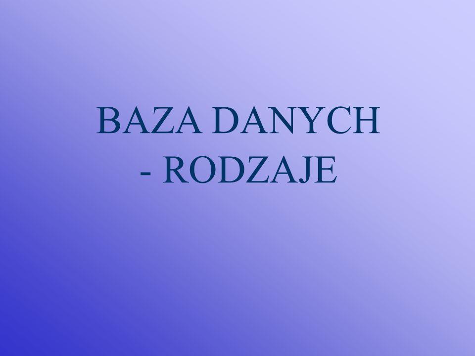 BAZA DANYCH - RODZAJE