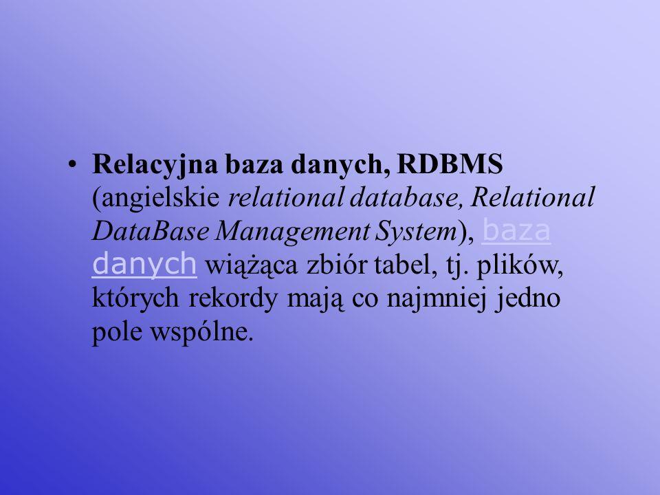 Relacyjna baza danych, RDBMS (angielskie relational database, Relational DataBase Management System), baza danych wiążąca zbiór tabel, tj.