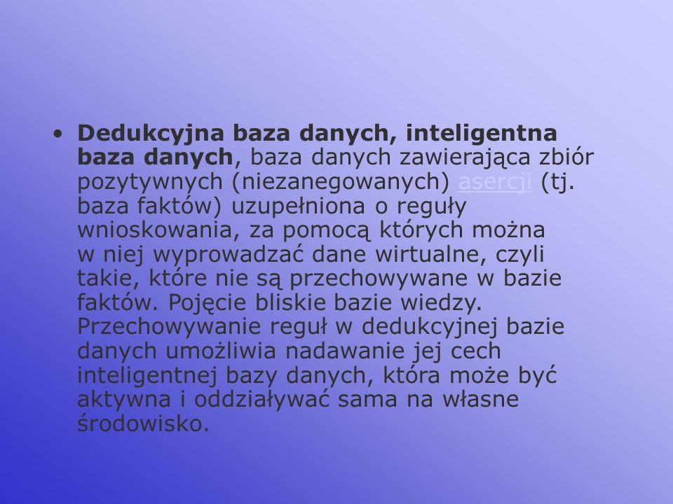 Dedukcyjna baza danych, inteligentna baza danych, baza danych zawierająca zbiór pozytywnych (niezanegowanych) asercji (tj.