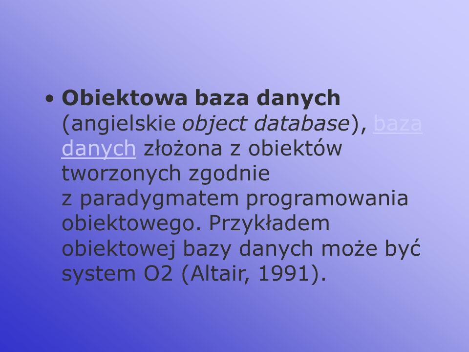 Obiektowa baza danych (angielskie object database), baza danych złożona z obiektów tworzonych zgodnie z paradygmatem programowania obiektowego.