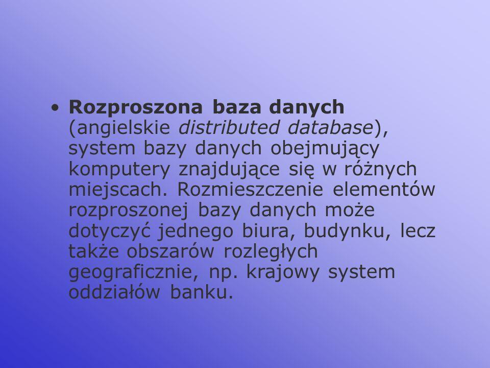 Rozproszona baza danych (angielskie distributed database), system bazy danych obejmujący komputery znajdujące się w różnych miejscach.