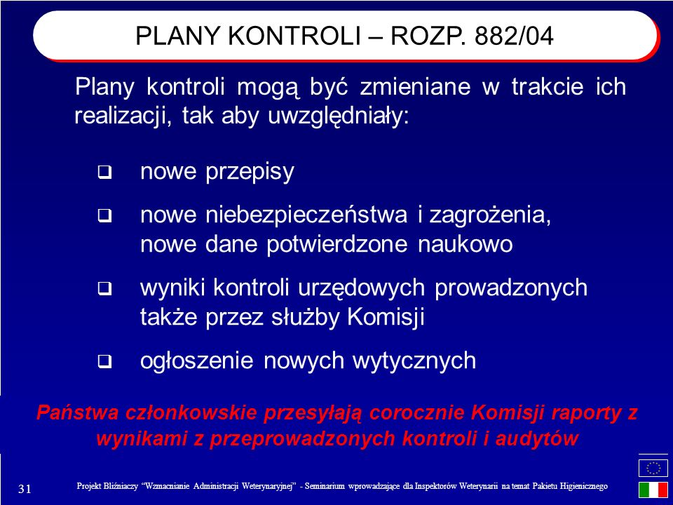 PLANY KONTROLI – ROZP. 882/04 Plany kontroli mogą być zmieniane w trakcie ich realizacji, tak aby uwzględniały: