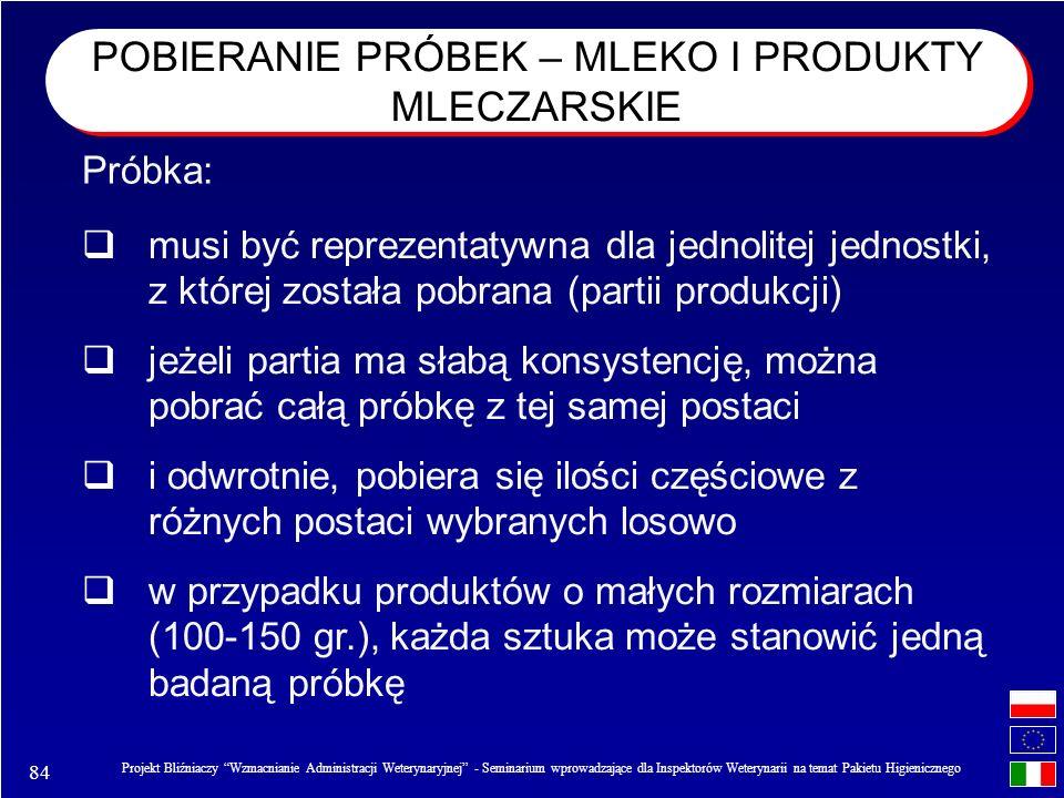 POBIERANIE PRÓBEK – MLEKO I PRODUKTY MLECZARSKIE