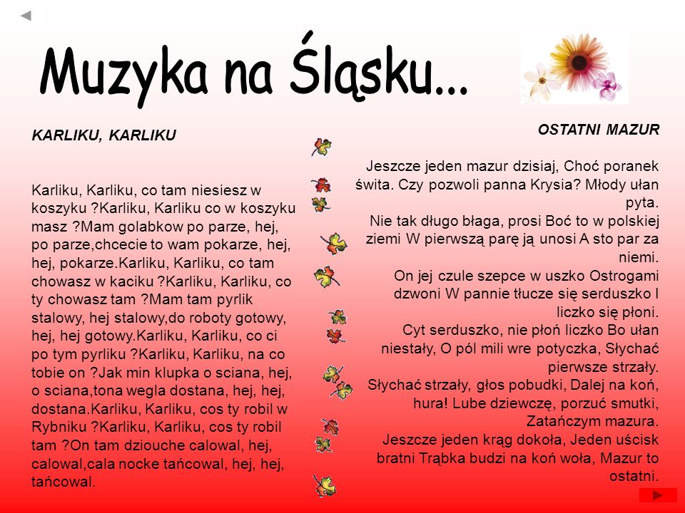 Muzyka na Śląsku... OSTATNI MAZUR KARLIKU, KARLIKU