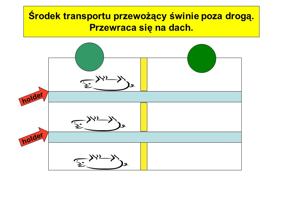 Środek transportu przewożący świnie poza drogą.