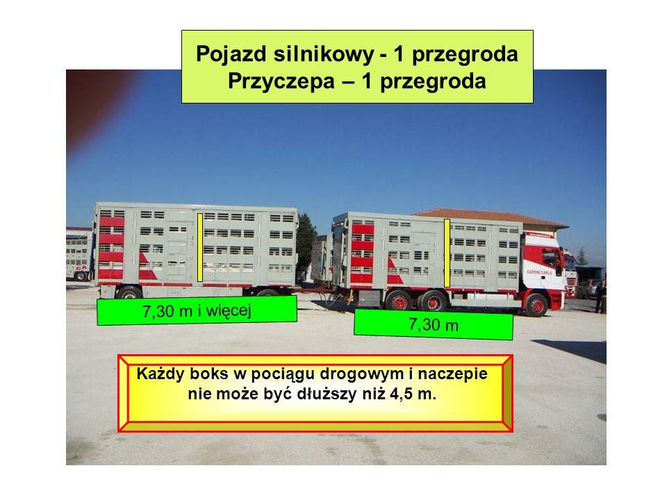 Pojazd silnikowy - 1 przegroda Przyczepa – 1 przegroda