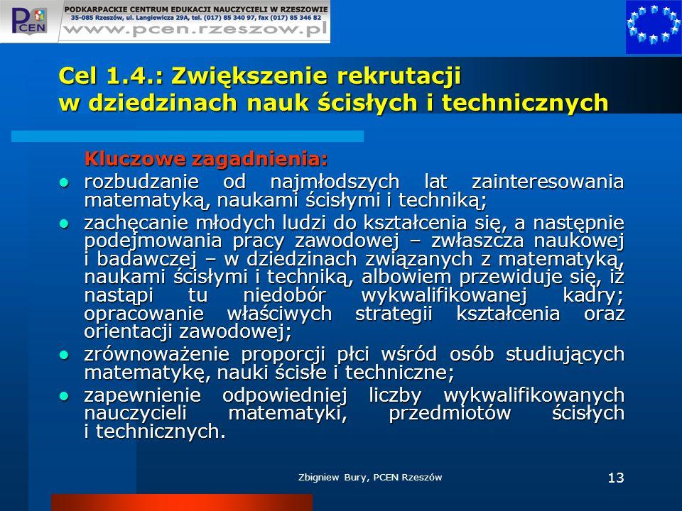 Cel 1.4.: Zwiększenie rekrutacji w dziedzinach nauk ścisłych i technicznych
