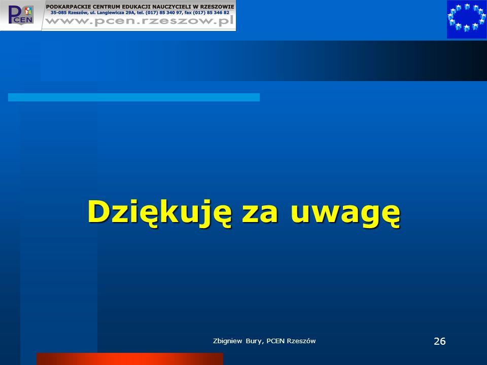 Dziękuję za uwagę Zbigniew Bury, PCEN Rzeszów