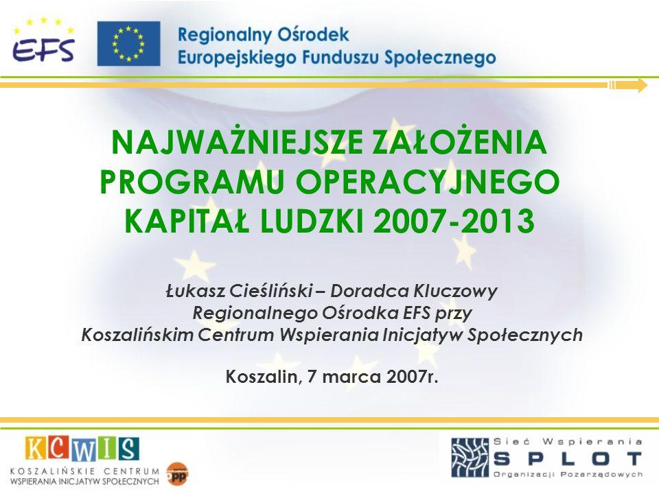 NAJWAŻNIEJSZE ZAŁOŻENIA PROGRAMU OPERACYJNEGO KAPITAŁ LUDZKI 2007-2013