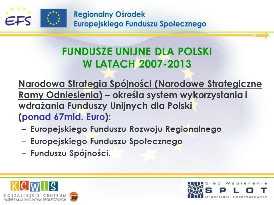 FUNDUSZE UNIJNE DLA POLSKI W LATACH 2007-2013