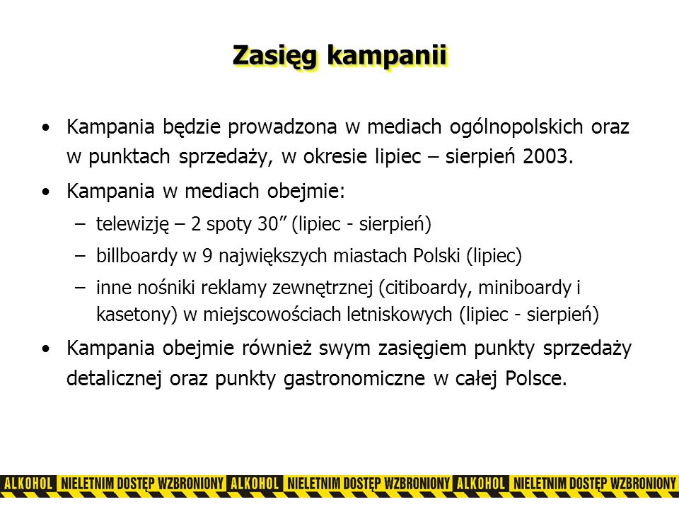 Zasięg kampanii Kampania będzie prowadzona w mediach ogólnopolskich oraz w punktach sprzedaży, w okresie lipiec – sierpień 2003.