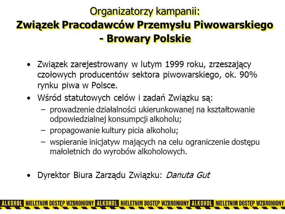 Organizatorzy kampanii: Związek Pracodawców Przemysłu Piwowarskiego - Browary Polskie