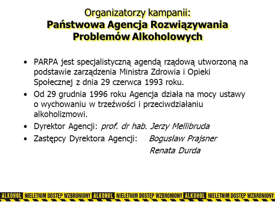Organizatorzy kampanii: Państwowa Agencja Rozwiązywania Problemów Alkoholowych