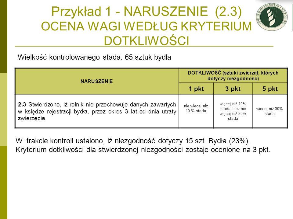 Przykład 1 - NARUSZENIE (2.3) OCENA WAGI WEDŁUG KRYTERIUM DOTKLIWOŚCI