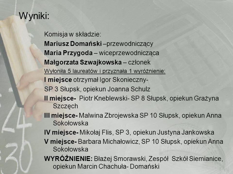 Wyniki: Komisja w składzie: Mariusz Domański –przewodniczący