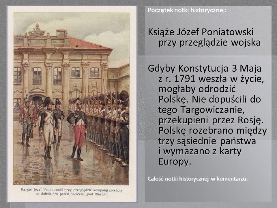 Książe Józef Poniatowski przy przeglądzie wojska