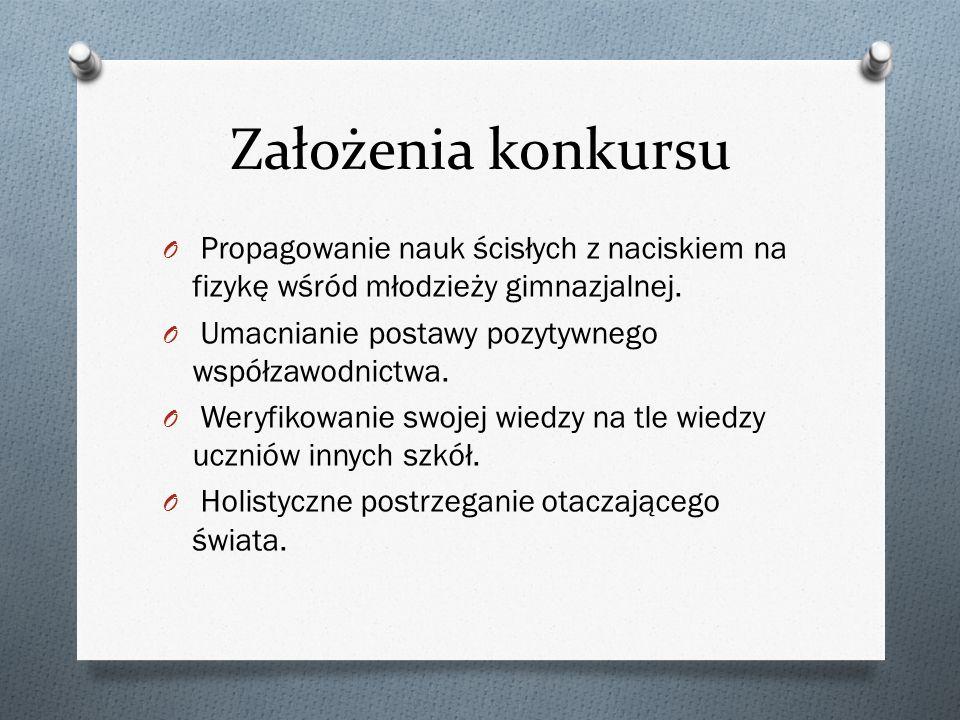 Założenia konkursu Propagowanie nauk ścisłych z naciskiem na fizykę wśród młodzieży gimnazjalnej. Umacnianie postawy pozytywnego współzawodnictwa.