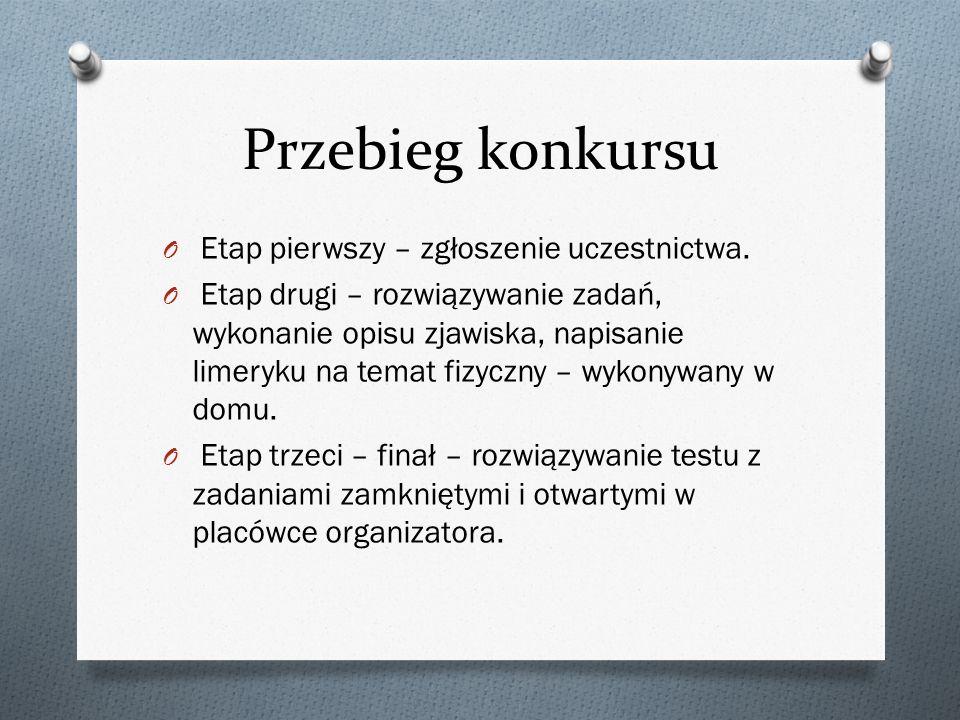 Przebieg konkursu Etap pierwszy – zgłoszenie uczestnictwa.