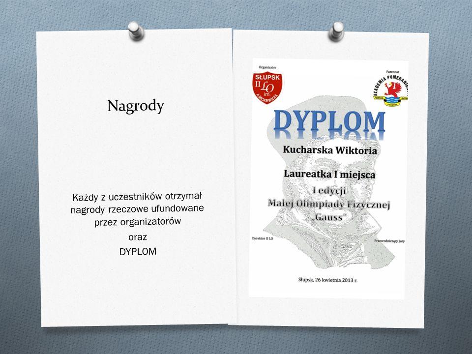 Nagrody Każdy z uczestników otrzymał nagrody rzeczowe ufundowane przez organizatorów oraz DYPLOM