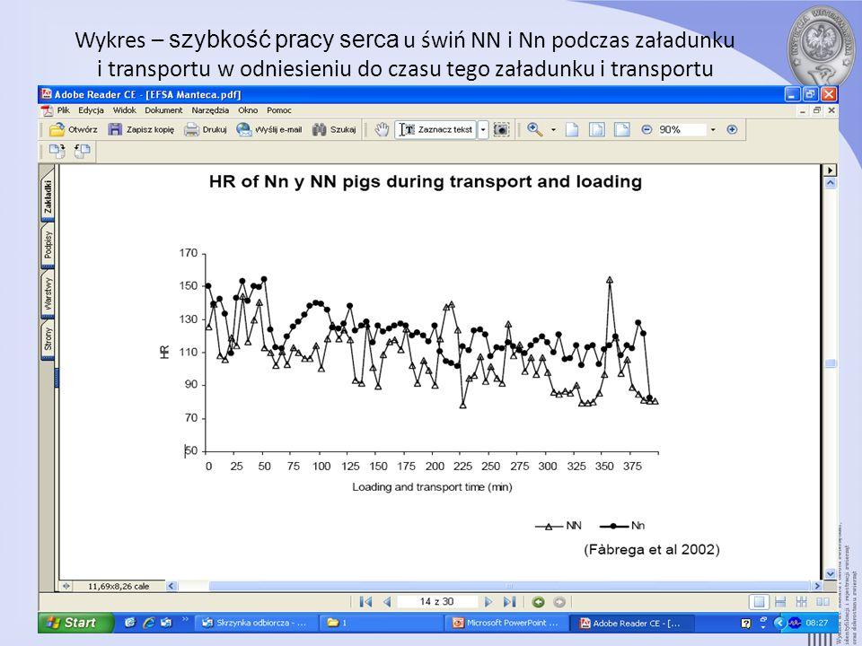 Wykres – szybkość pracy serca u świń NN i Nn podczas załadunku i transportu w odniesieniu do czasu tego załadunku i transportu