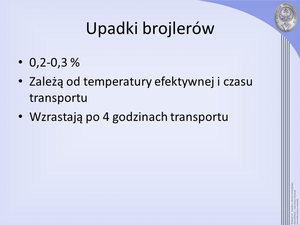 Upadki brojlerów 0,2-0,3 % Zależą od temperatury efektywnej i czasu transportu.